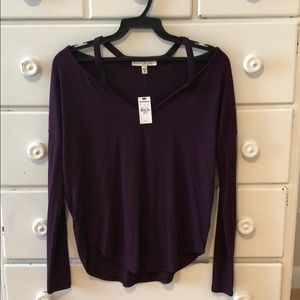 Purple cold shoulder tee from Express